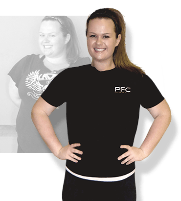 Before & after weight loss results for PFC camper Lauren