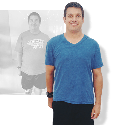 Before & after weight loss results for PFC camper Michael