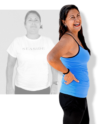 Before & after weight loss results for PFC camper Paula